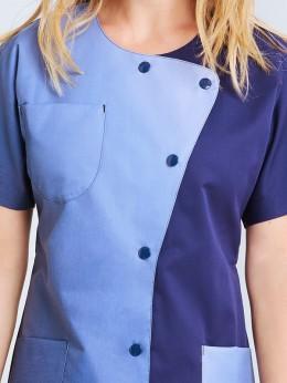 Tunique Homme Coupe Droite Bleu Turquoise Garni Bleu Marine SANCHO