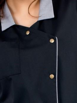 Tablier Chasuble Femme Chambray noir garni noir et blanc BLACKOL